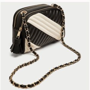 ZARA Black & White Quilted Faux Leather Chain Strap Purse Shoulder Bag Crossbody